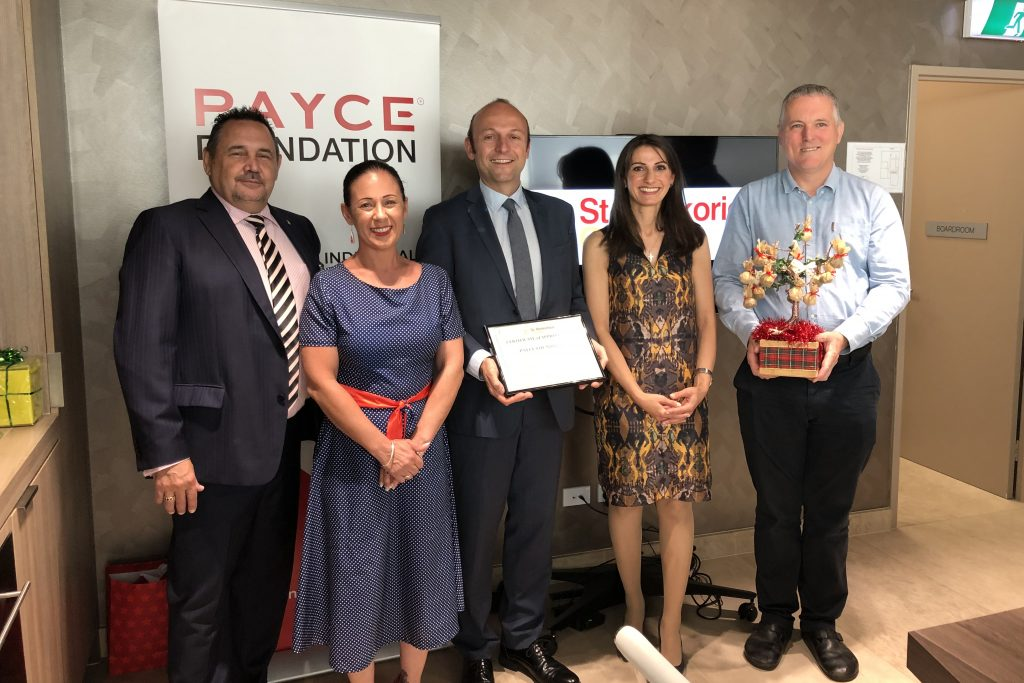 Group photo of Andrea from PAYCE Foundation, Kick Start Cafe Chef Shane, St Merkorious Charity President Paula, and National Training Organisation's Eva and Gary.